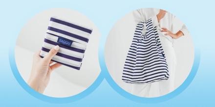 Image of the portable and reusable Sailor Stripe Bag bag