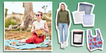 Illustration of a Woman having a picnic with her stashed bags ; planet protect Sweatshirt in green, three stashed bags, an Unwind candle and a Bag bag with cherries. Shop the best Earth Day sales from S'well, Pact, Stasher, Baggu and more. Find the best E