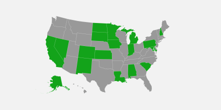 A map of the U.S. showing which states have eased Covid-19 vaccination residency requirements.