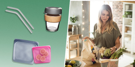 Illustration of a Woman coming home from grocery and carrying healthy organic veggies and metal reusable straws, two stashed bags and a reusable Keepcup mug with cork