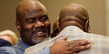 Image: Rodney Floyd embraces Philonise Floyd during a news conference following the verdict in the trial of Derek Chauvin
