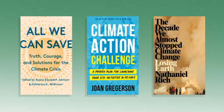 Illustration of three different climate books, All We Can Save, Climate Action and Losing Earth: The Decade We Could Have Stopped Climate Change. Read a climate change book and learn about environmental issues this Earth Day. The best climate change books