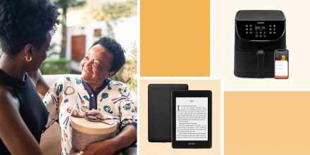 Illustration of a daughter giving her mom a gift box, a Cosari Air Fryer and an Amazon's All-New Kindle Paperwhite