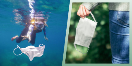Illustration of two images a Volunteer girl snorkeling with swimsuit and picking up a mask garbage on ocean and a hand holding a mask. See the best eco-friendly and sustainable masks of 2021 to help prevent face mask pollution. The best eco-friendly face