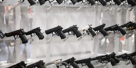 Firearms are on display during the NRA's annual convention on May 6, 2018, in Dallas.