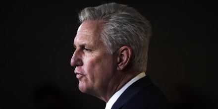 House Minority Leader Kevin McCarthy, R-Calif., speaks at the Capitol on April 22, 2021.