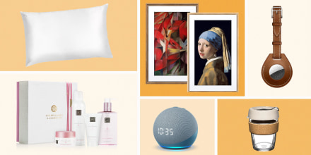 Illustration of the Slip Silk Pillowcase; Meural, new Amazon Echo Dot, an Apple AirTag, KeepCup Cork Edition, and The Ritual of Sakura Medium Set. Looking for a last minute Mother's Day gift? See the best last minute gift ideas including tech, skincare, a