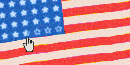 Illustration of a digitized American flag with a cursor clicking to fill the stars with white.