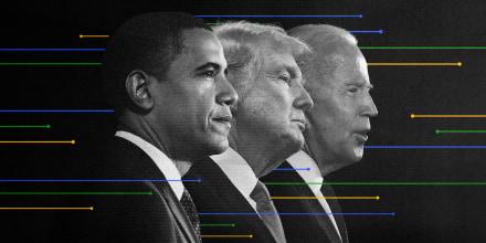 Illustration of former Presidents Barack Obama, Donald Trump and President Joe Biden with overlapping line graphs.