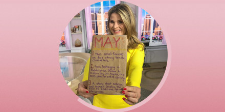Illustration of Jenna Bush Hager holding up a book wrapped in brown paper, with clue's on it