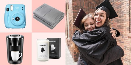 Illustration of Two High School students wearing a graduation caps and gowns hug, a weighted blanket, a Homesick Candle, a Keurig and a Fuji Instax Mini 11 in blue