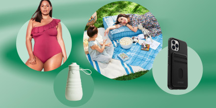 Illustration of a Woman picnicking with her daughter using West Elm products, MagSafe Otterbox, Stojo Sports Bottle and a Woman wearing a Knix swimsuit