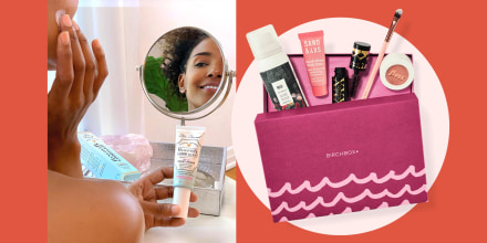 Illustration of a Woman putting on face cream from a subscription box and a box of products in a Birchbox subscription