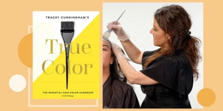 Illustration of Tracey Cunningham coloring someones hair and her book True Color