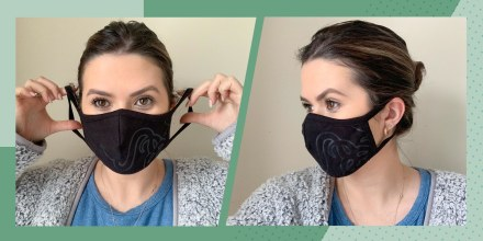 Illustration of two images of Casey DelBasso wearing a cloth mask in black, with a design on it