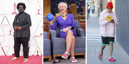 Three images of Questlove at the 93rd Annual Academy Awards, Actress Helen Mirren during an interview with host Jimmy Fallon, and Justin Bieber all wearing crocs