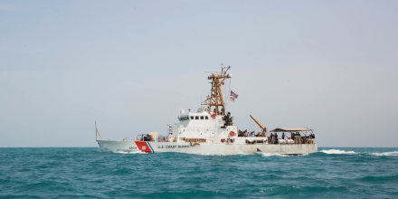 The patrol boat United States Coast Guard Cutter Maui navigates through the Arabian Gulf on Jan. 24, 2019.