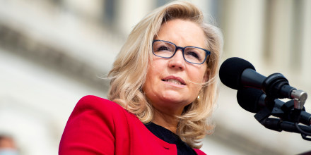 Image: Liz Cheney speaks during an event on the House steps of the Capitol.