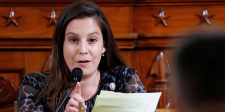 Image: Rep. Elise Stefanik, R-N.Y., during a public impeachment hearing for President Donald Trump on Capitol Hill on Nov. 19, 2019.