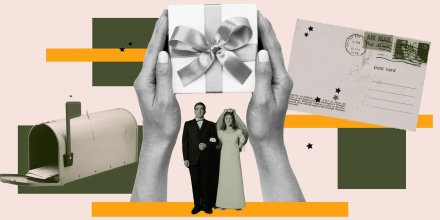 Illustration of hands holding gift with a married couple below the box.