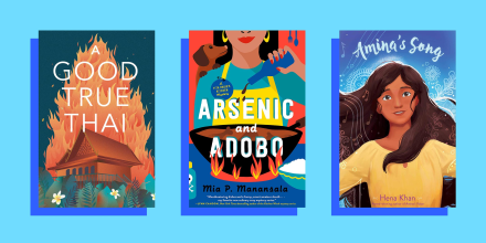 Illustration of three different AAPI books against a blue background. A Good True Thai, Arsenic and Adobo and Amina's Song. Read books by Asian American authors to learn more about the diverse Asian American experience. Noteworthy books for 2021 include f