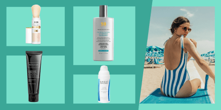 Illustration of a Woman at the beach wearing a bathing suit putting on lotion and 4 bottles of different mineral sunscreens