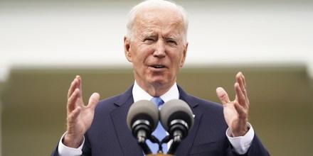 President Joe Biden speaks in the Rose Garden of the White House on May 13, 2021.