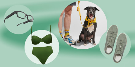 Illustration of the new CUUP swimwear line in green, a dog wearing the new Wild One items in yellow, Rothy's new shoes for Men and the new Echo glasses from Amazon