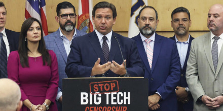 Gov. Ron DeSantis signed legislation Monday that seeks to punish social media platforms that remove political candidates from their sites.
