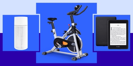 Illustration of the YOSUDA Indoor Cycling Bike Stationary, Kindle and the Blueair 411