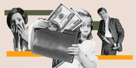 Illustration of girl with wallet and bills and parents behind