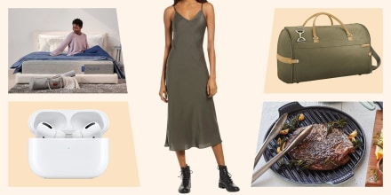 Illustration of a woman sitting on a casper mattress, a dress, apple air pods, a pan and a duffel bag. Shop the best sales and deals of June 2021 including cookware, photo services, toys, and AirPods Pro from Nordstrom, Amazon, Wayfair and more.