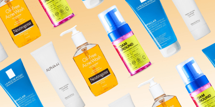 Illustration of four different Acne face washes. Best acne face washes of 2021, including Neutrogena, Panoxyl, LaRoche-Posay, InnBeauty Project, and Alpha-H. Sephora acne face wahses.