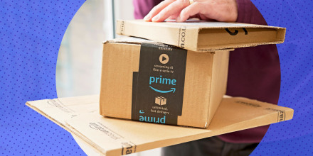 Illustration of a Man holding Amazon prime packages and boxes