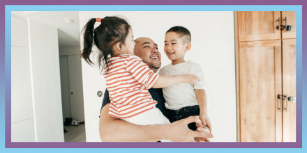 Illustration of Dad hugging kids