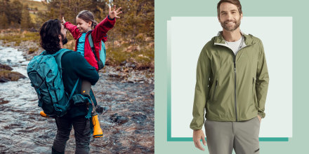 Illustration of a Father and Daughter crossing a stream  and a man wearing a green L.L. Bean Men's Ultralight Packable Wading Jacket