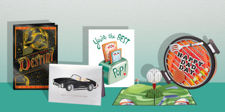 Illustration of four different types of Father's Day Cards