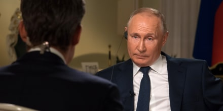 Image: Vladimir Putin during an interview with Keir Simmons.