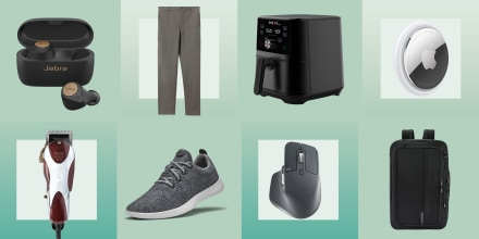 Illustration of sneakers, backpack, Allbird sneakers, Apple Airtag, Everlane pants, shaver, and desktop mouse as last minute fathers day gifts