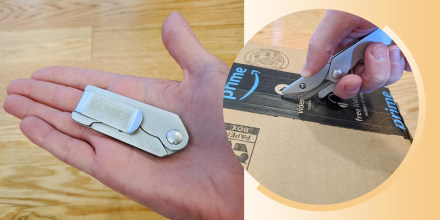 Illustration of a hand holding a pocket box opener knife and someone opening a box with it. The Gerber EAB pocket knife makes box-cutting and box-opening easy and safe. Learn why I love the Gerber EAB folding utility knife and where you can buy it.