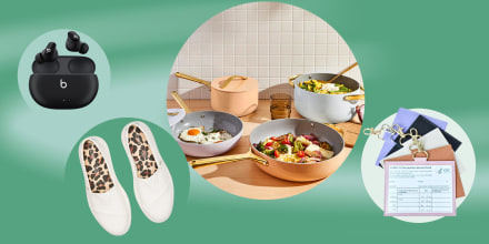 Illustration of pans with food in them from Caraway, apple beats headphones, vaccine card holder and White Toms shoes