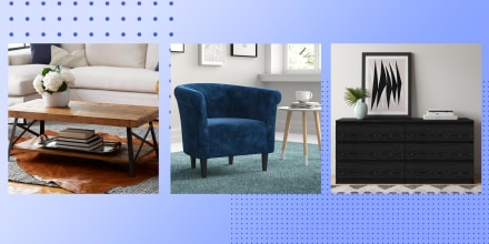 Illustration of 3 different room setups with Wayfair furniture