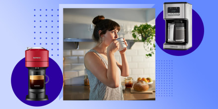 Woman drinking from mug in kitchen and two coffee makers. Shop the best coffee makers on sale for Amazon Prime Day. See Prime Day coffee maker and coffee machine deals on Ninja, Keurig, Calphalon and more.