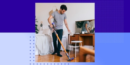 Man cleaning bedroom with vacuum cleaner. Amazon Prime Day 2021. Best vacuum sales on Dyson, Bissell, Roomba and more.