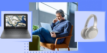 Mature man listening to music on laptop, headphones and a laptop all on sale on Best Buy. Best Buy Prime Day deals are here. Shop Best Buy's alternative to Amazon Prime Day with sales on TVs, headphones, Apple products, Samsung products and more.