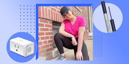 Illustration of Casey DelBasso wearing Amazon black leggings, a smart plug, and lash conditioner, all on sale on Amazon Prime Day.  Shopping writers and editors reveal the best deals and sales on their favorite Amazon Prime Day 2021 products from Amazon,