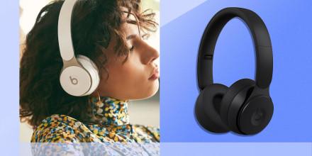 Illustration of black Beats Solo headphones and Woman wearing Beats Solo headphones