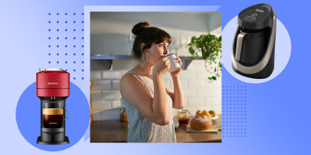 Woman drinking coffee in her kitchen and two coffee makers on sale on Amazon Prime Day. Shop the best coffee makers on sale for Amazon Prime Day. See Prime Day coffee maker and coffee machine deals on Nespresso, Keurig and more.