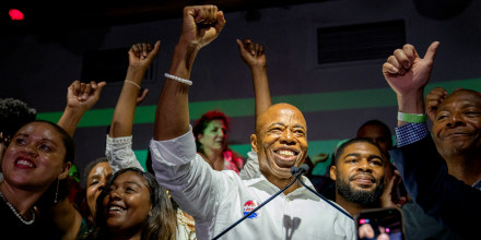 New York City mayoral candidate Eric Adams speaks during his election night party at Schimanski on June 22, 2021 Brooklyn, N.Y.
