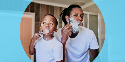 Shot of a father teaching his little son how to shave in the bathroom at home. See the best shaving creams for your hair removal routine this summer. Shop shaving creams for women and men from Eos, Aveeno, Proraso and more.